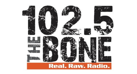 102.5 The Bone - Real. Raw. Radio. Logo